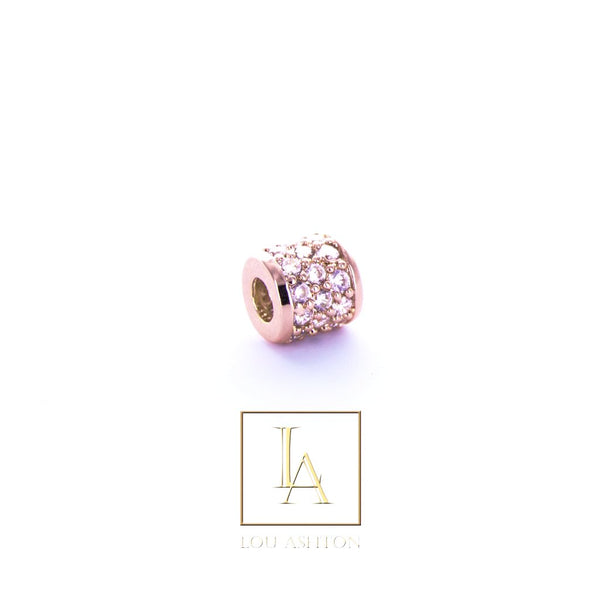 Bouchon large finition or rose 18k & cz diamant blanc
