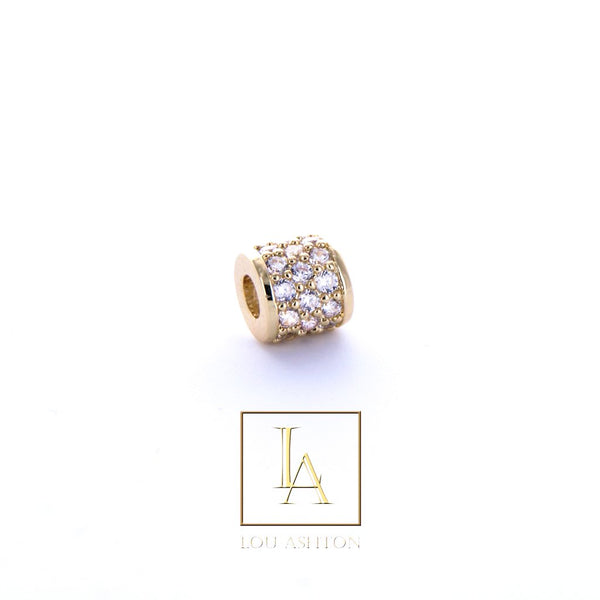 Bouchon large finition or jaune 18k & cz diamant blanc