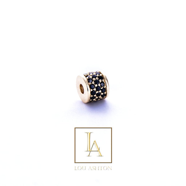 Bouchon large finition or jaune 18k & cz diamant noir.