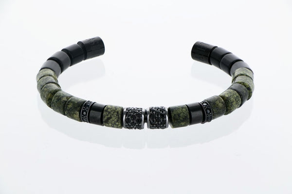 Bangle exclusif Datura Zebra verte jasper