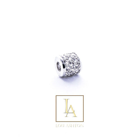Bouchon large finition rhodium & cz diamant blanc