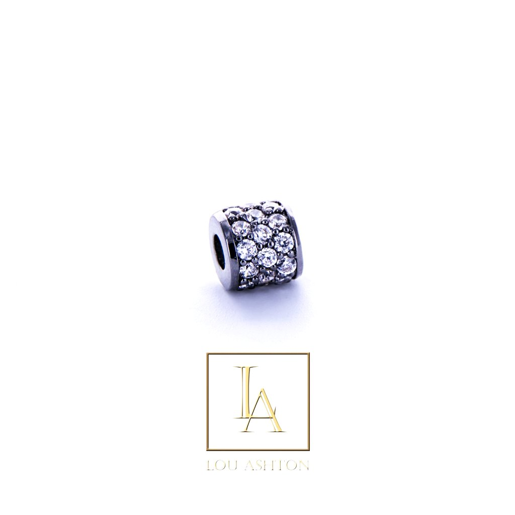 Bouchon large finition rhodium noir & cz diamant blanc