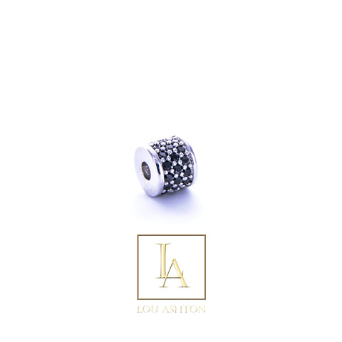 Bouchon large finition rhodium & cz diamant noir