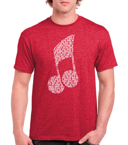 "Red ""Note"" Design - Mens Short Sleeve T-Shirt"