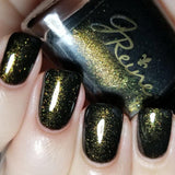 Who Dat Nation - Black and Gold Shimmer Nail Polish