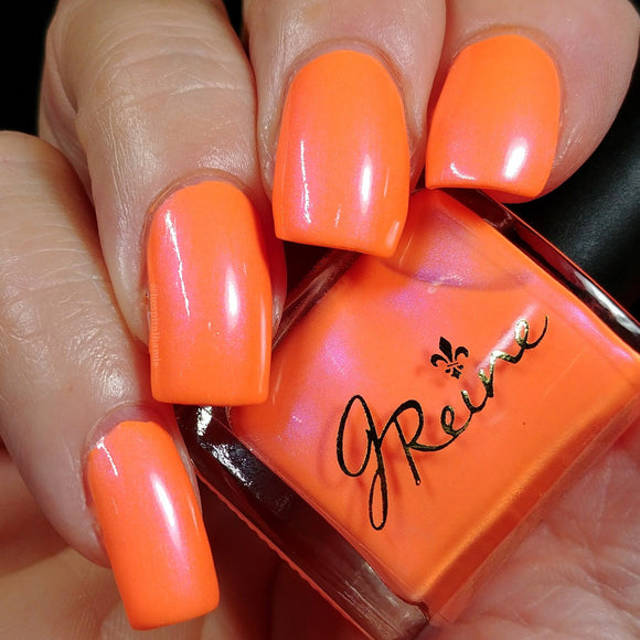 Atomic Bomb - Neon Orange with red and violet shimmer Nail Polish