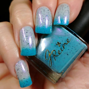 Cosmic Cola - Turquoise, pink, purple thermal with flakies nail polish