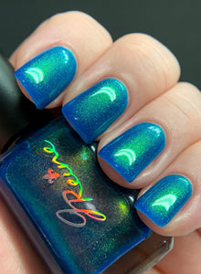 Humble - Blue jelly with Gold/Green Sister UP polish