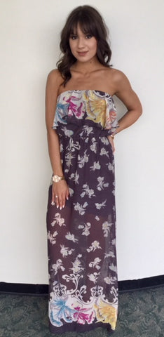 Strapless Floral Border Maxi