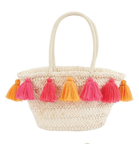 Coral and Orangina Tassel Beach Bag