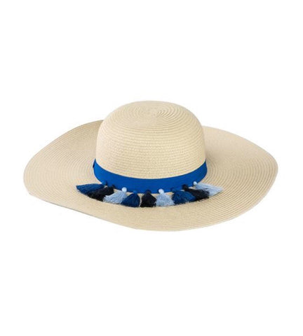 Navy Tassel Wide Brim Hat