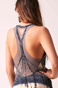 SOPHIA - Beaded Back Maxi Dress Tie Dye  - PEWTER