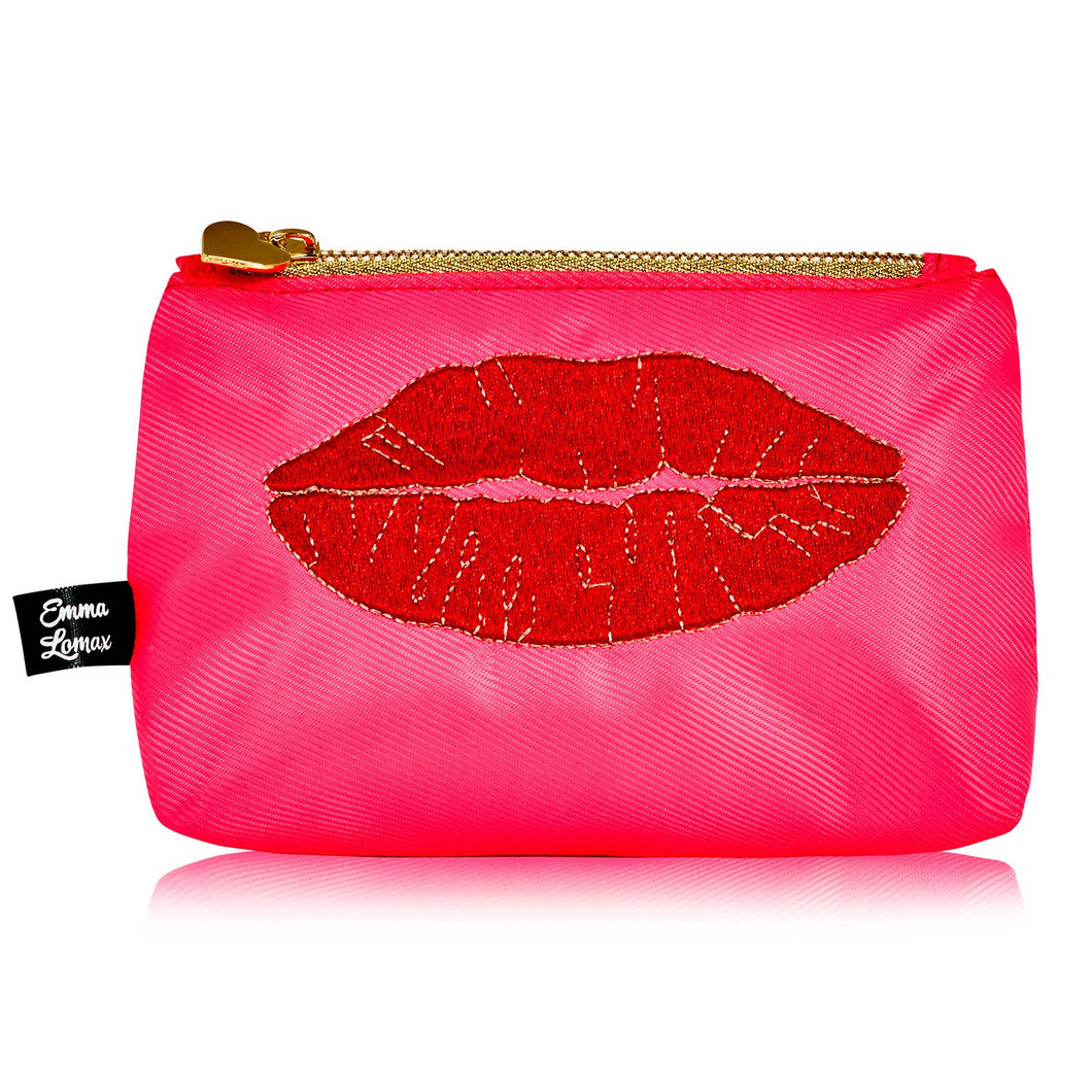 Luscious lips small cosmetic bag - Neon Pink - Emma Lomax