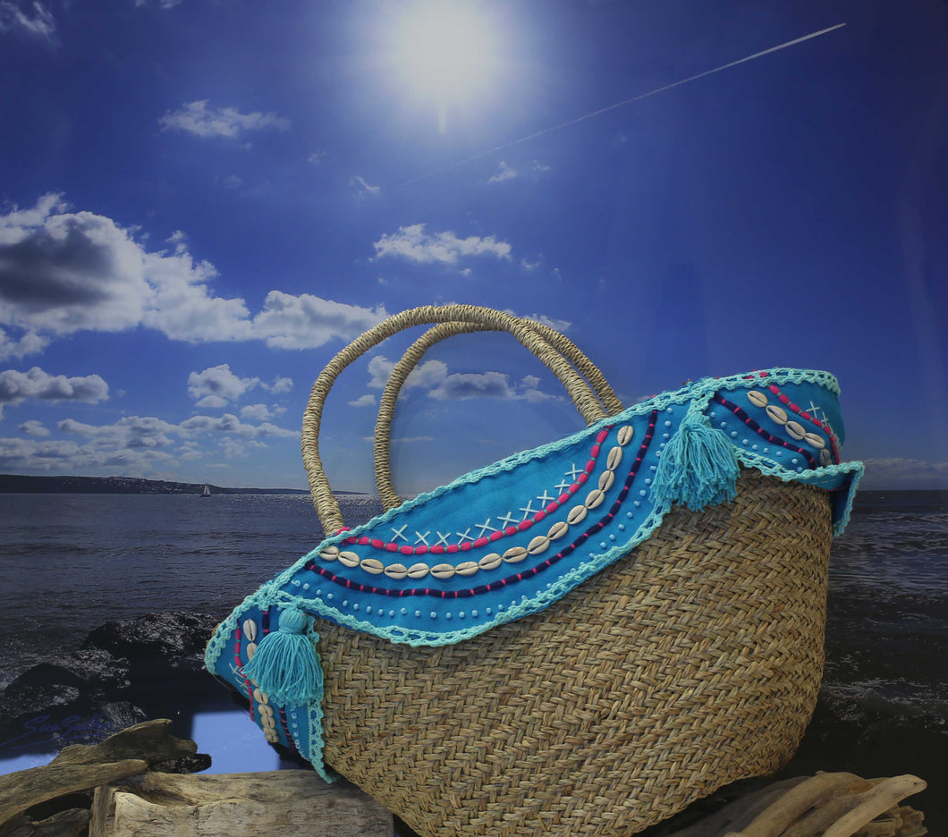 Shell and tassel trimmed IBIZA beach basket - OCEAN TURQUOISE