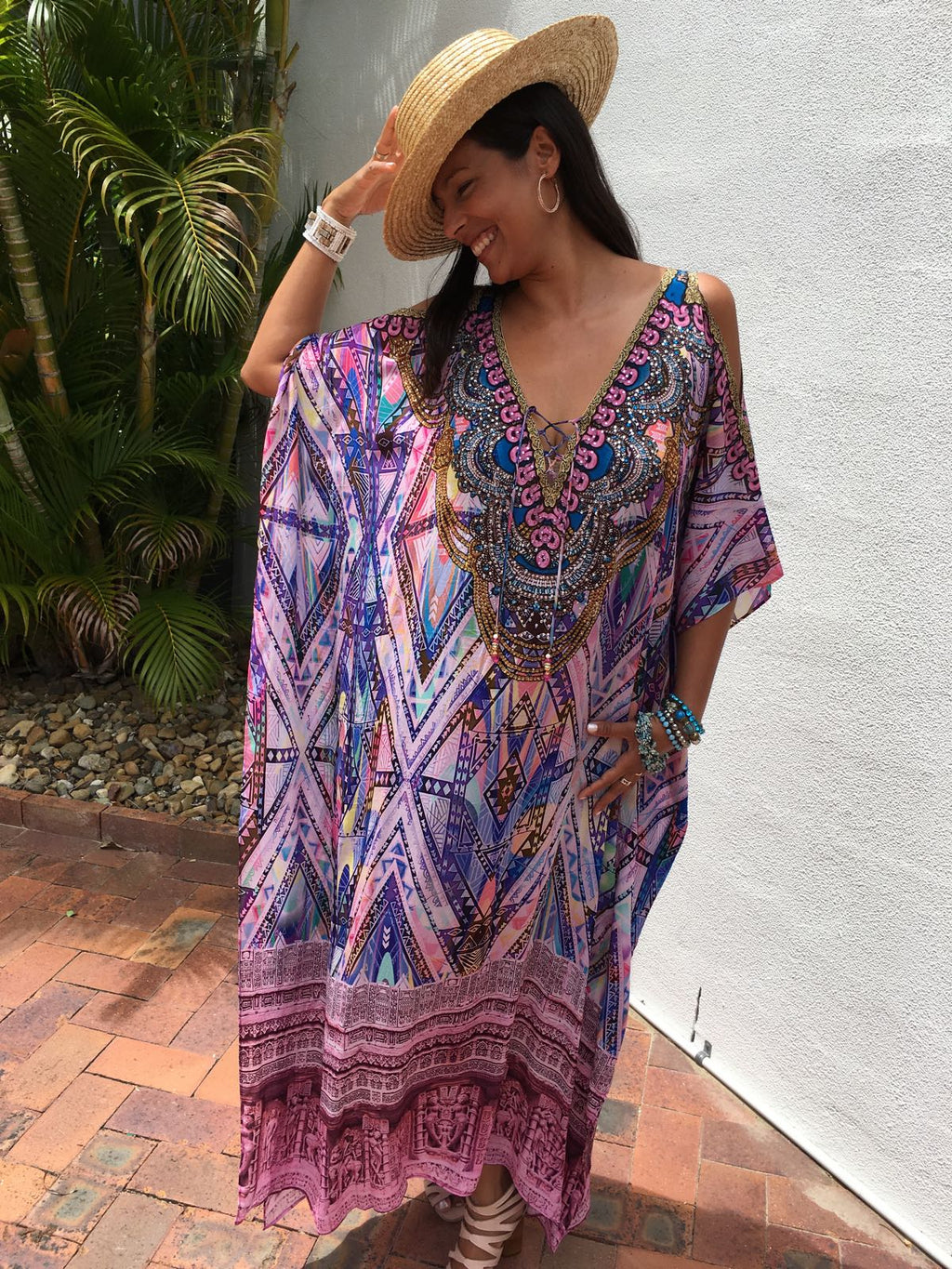 JAIPUR - Luxury Cold Shoulder Kaftan - Pink