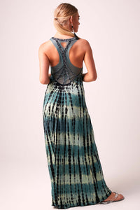 SOPHIA - Beaded Back Maxi Dress Tie Dye  - DEEP FOREST