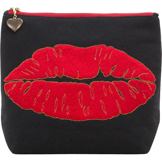 Luscious lips large cosmetic bag - Black - Emma Lomax