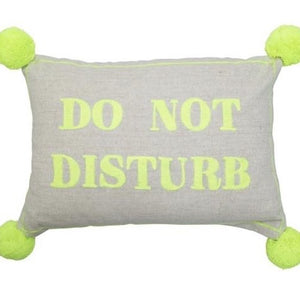 DO NOT DISTURB - Beige linen pompom cushion