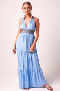 Glorious Goddess Maxi Dress - Forget-me-not blue