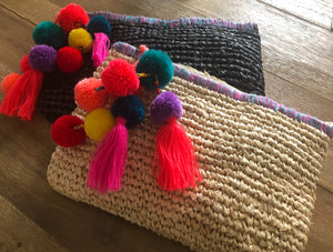 The TAHITI PomPom Clutch Bag - BLACK or NATURAL