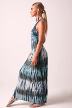 SOPHIA - Beaded Back Maxi Dress Tie Dye  - TEAL