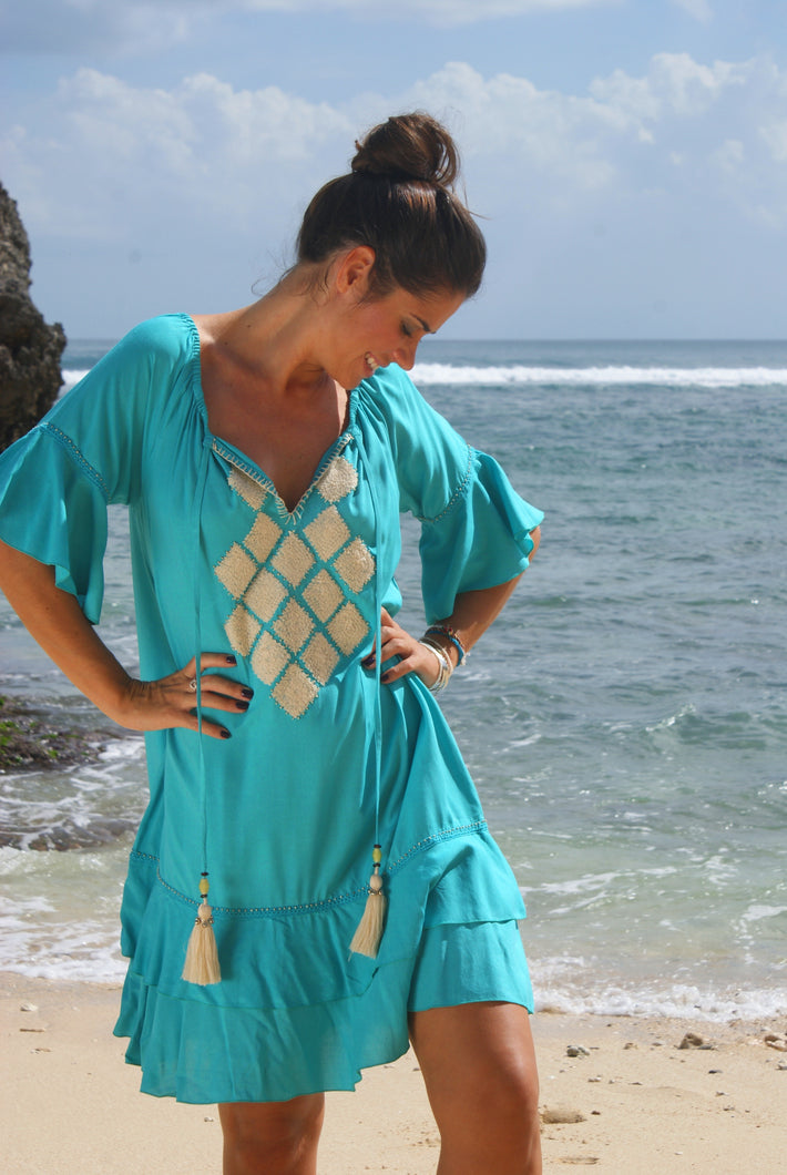 Yasmin Dress - Tealy Turquoise with Vanilla embroidery