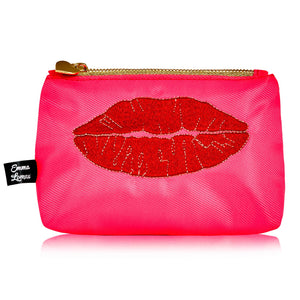 Luscious lips large cosmetic bag - Neon Pink - Emma Lomax