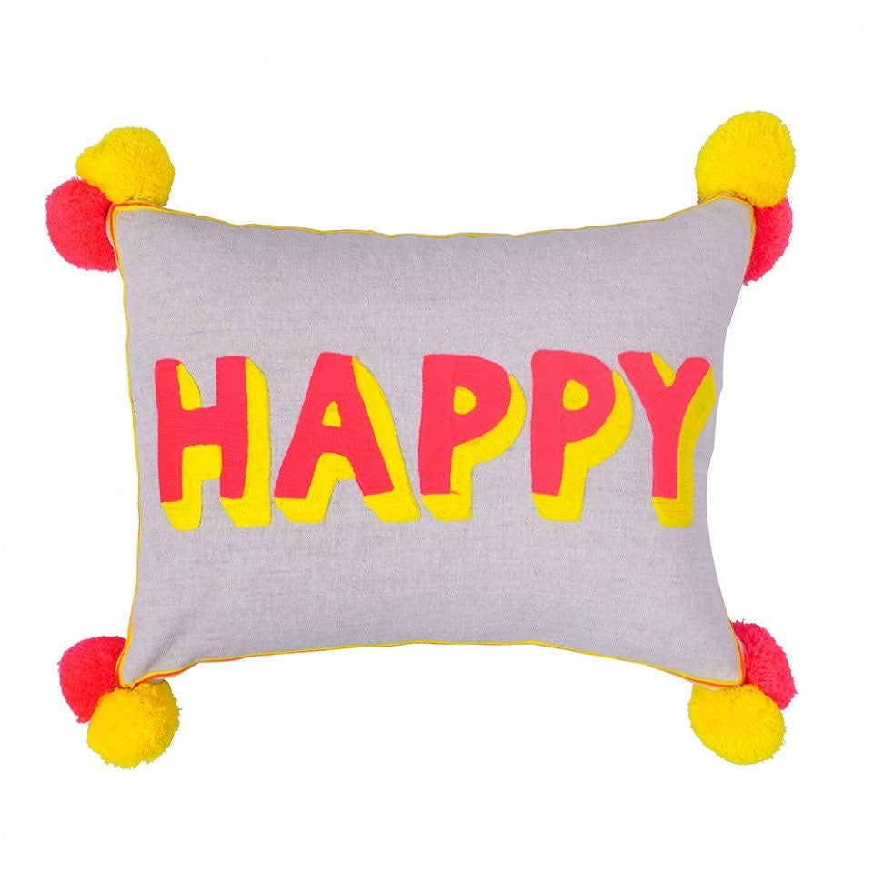 HAPPY - Beige linen pompom cushion