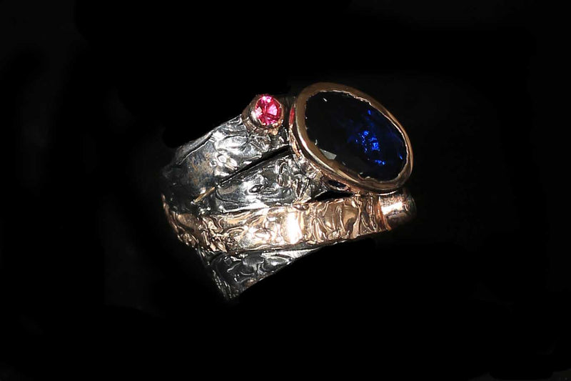 Unique oxidised sterling silver ring with rose gold plate and semi precious stones  - Hand Made