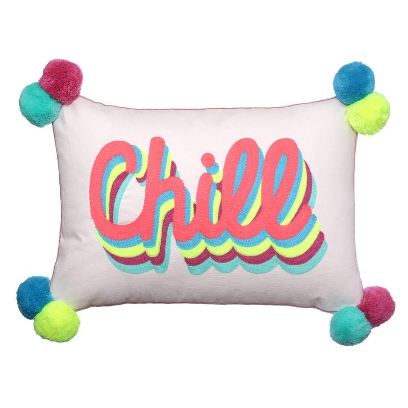 CHILL - Beige linen pompom cushion