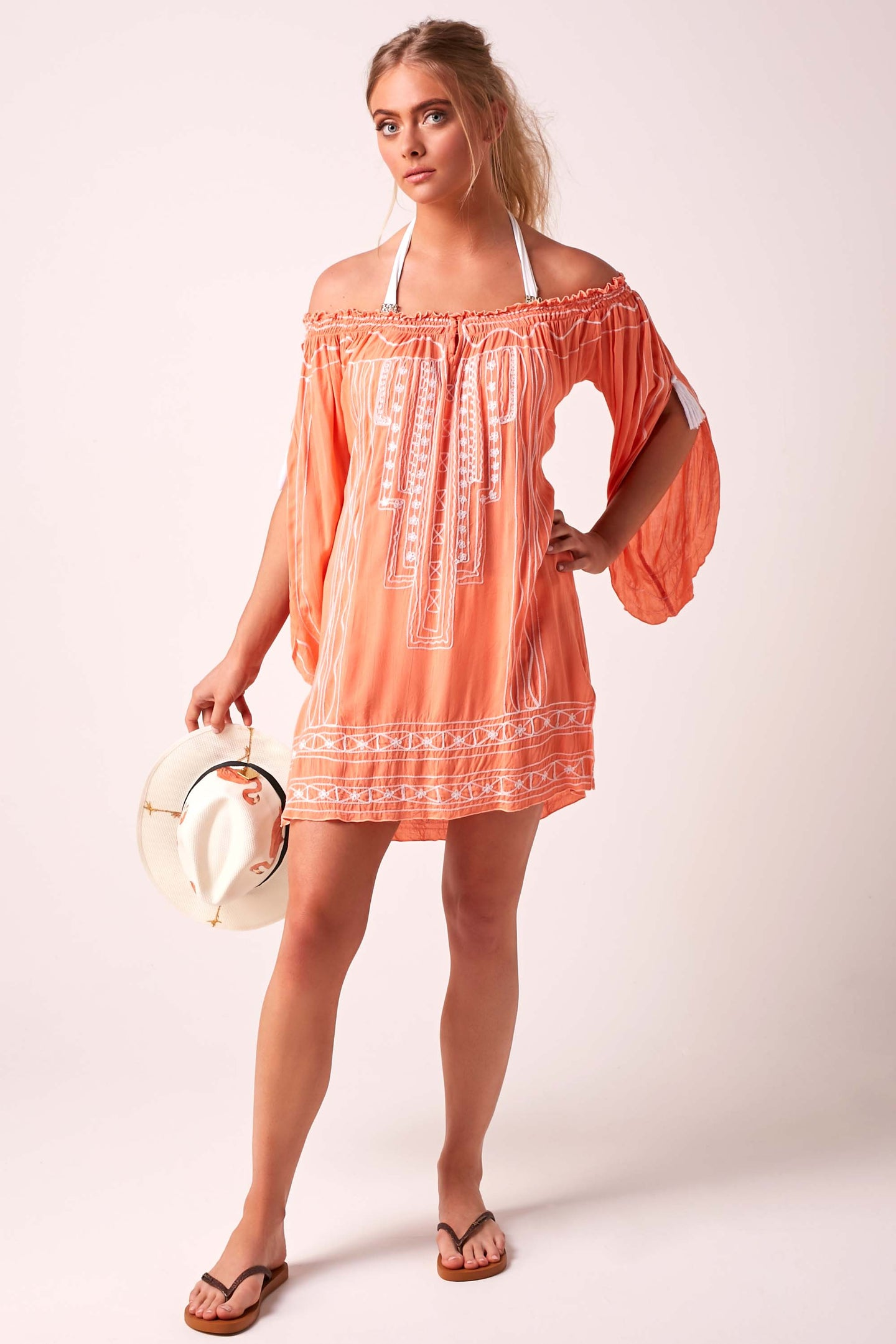 Bardot Dress Coral