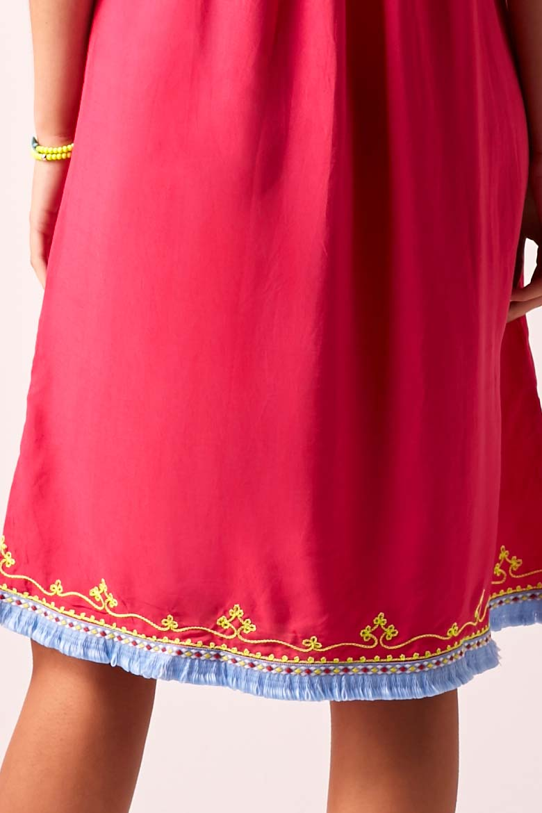 BOHO BIBI - Sun Dress - Fuchsia with Vivid Lime Embroidery