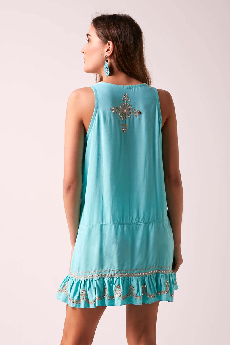 Star Sequin Frill Shift Dress Aqua
