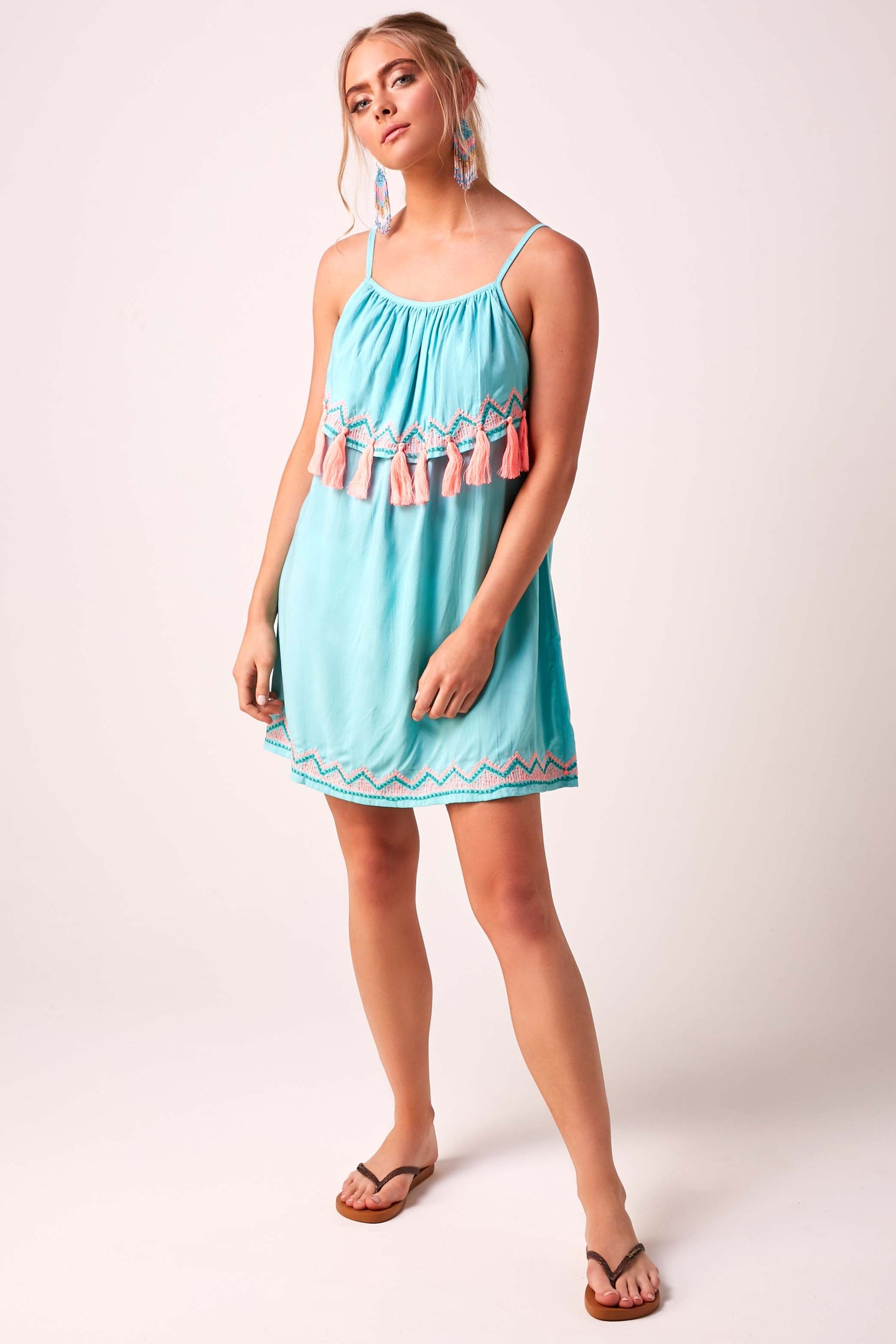 Tassel Baby Doll Dress Aqua