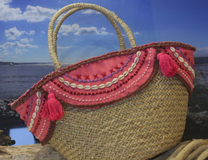 Shell and tassel trimmed IBIZA beach basket - FLAMINGO PINK