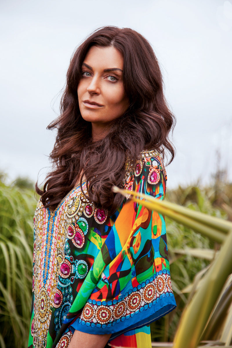 THE GAUDI - 100% Silk Luxury Kaftan - Rainbow
