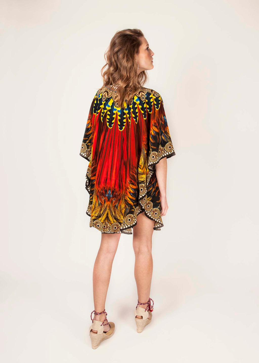 PHOENIX  - 100% Silk - Luxury Kaftan - Fire