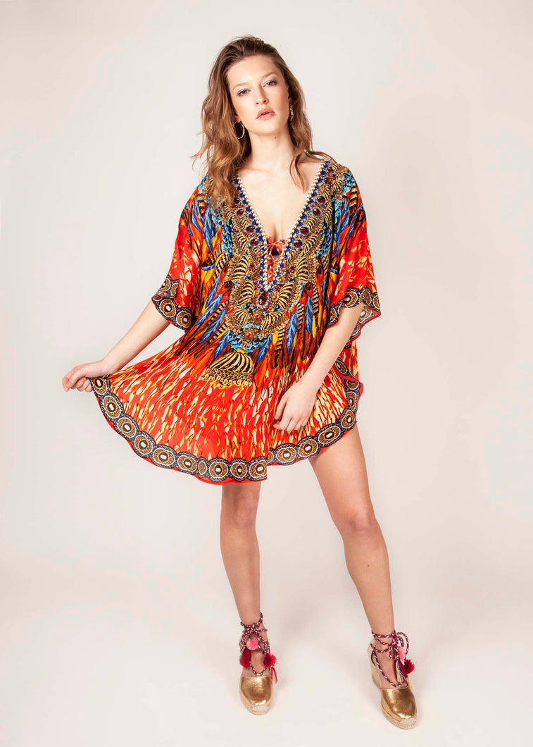 Coral Flame - Luxury Kaftan