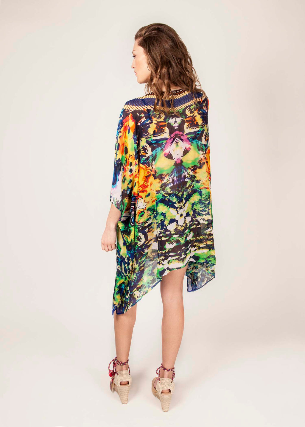 BIRD OF PARADISE  - 100% Silk Georgette - Luxury Kaftan - Cobalt