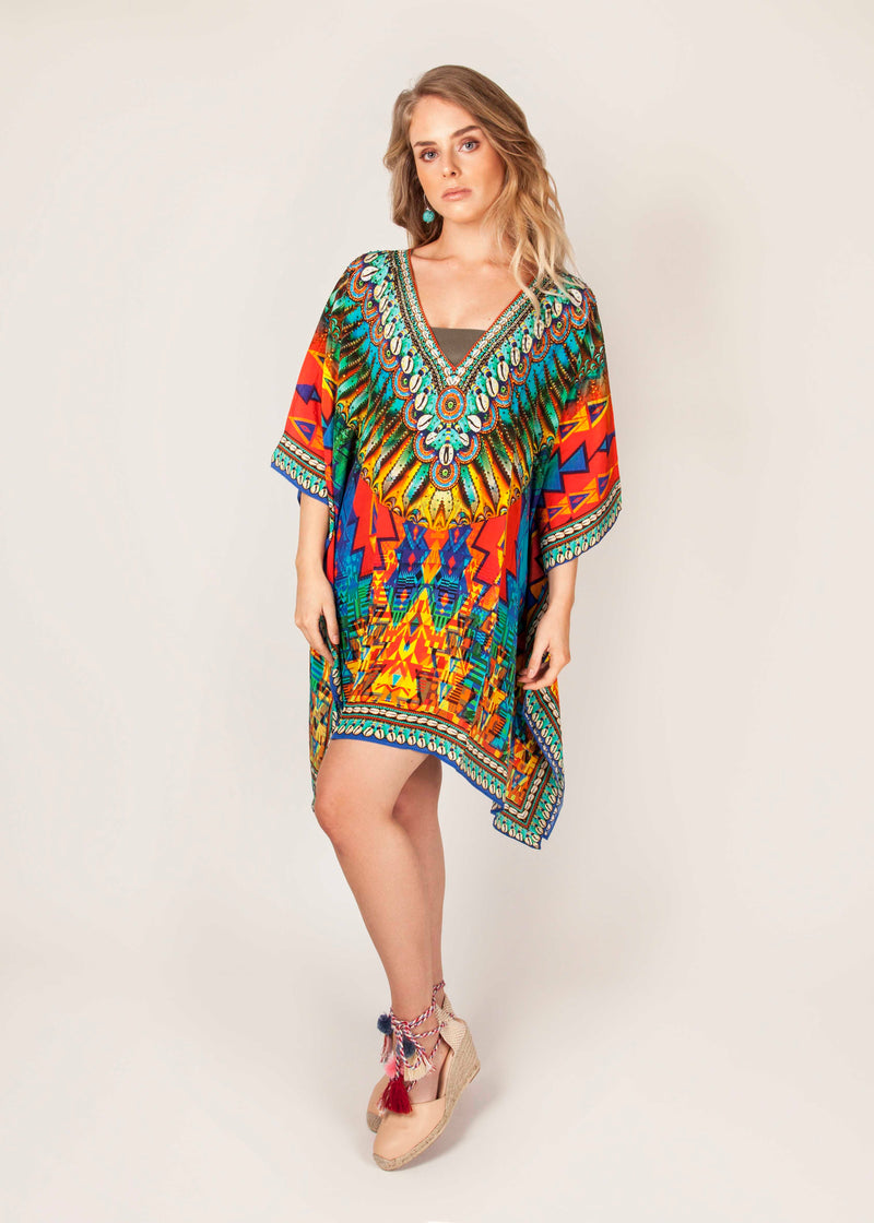 AZTEC - 100% Silk - Luxury Kaftan