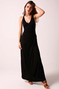 SOPHIA  -  Beaded Back Maxi Dress - Black