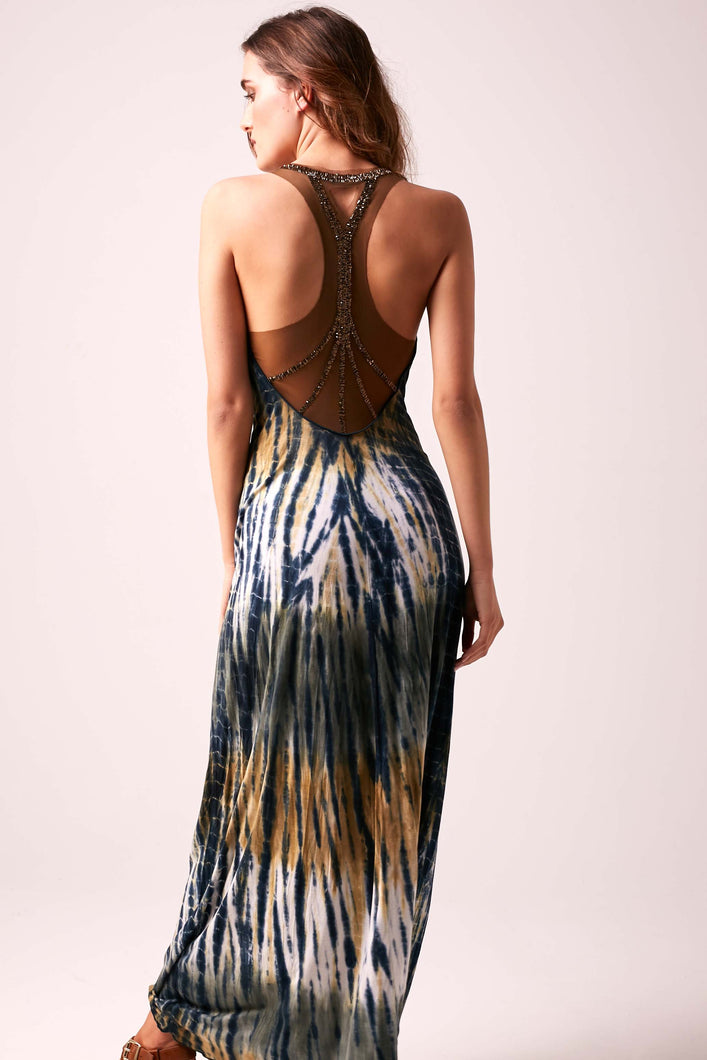 SOPHIA - Beaded Back Maxi Dress Tie Dye  - BRONZE