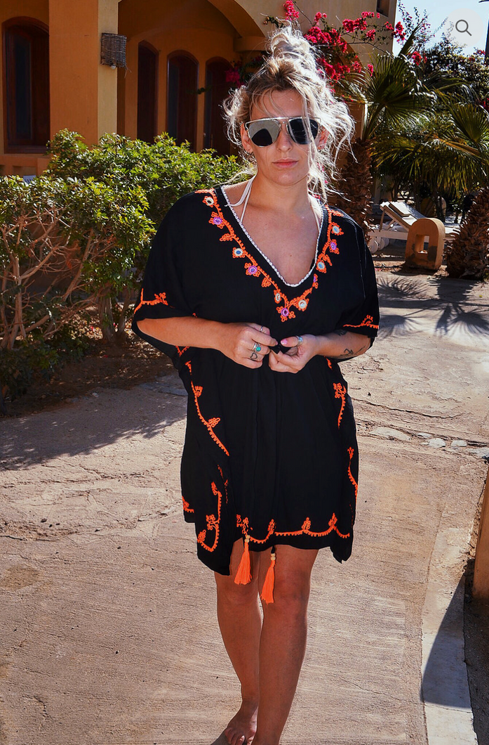 Tie Waste - Kaftan - Black/Orange £55