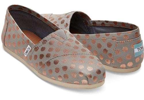 TOMS Women's Slip-On - Grey/Gold Foil Dots
