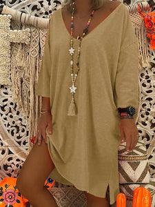 V-Neck  Shift Women Daily Cotton Casual Spring Solid Long Sleeve Dress