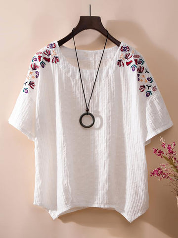 Short Sleeve Crew Neck Embellished Slightly Stretchy Shirt