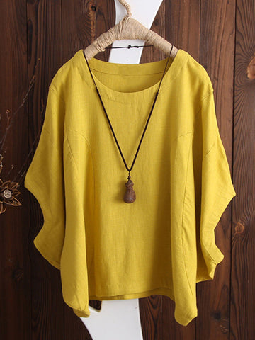 Crew Neck Casual Solid Cotton Blouse