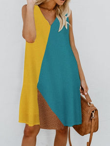 V Neck Women Stripes Shift Daily Cotton-Blend Color-Block Sleeveless Dresses Casual