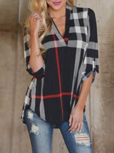 3/4 Sleeve Printed Casual V neck Blouse