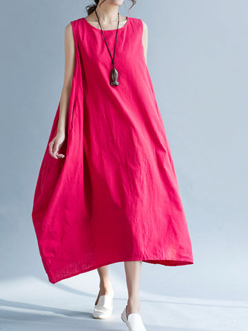 Solid Cocoon Sleeveless Casual Linen Maxi Dress